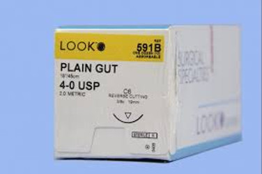 Suture C-6 4-0 Plain Gut 18in 12/Bx