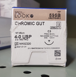 Suture Chromic Gut C-3 4-0 18in 12/Bx