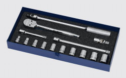 "7/16 - 1"" Williams 1/2"" Dr Shallow Socket & Tool Set 12 Pt 15 Pcs - WSS-15F"