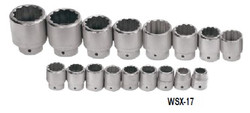 "1 1/16 - 2 3/8"" Williams 1"" Dr Shallow Socket Set 12 Pt 17 Pcs - WSX-17"