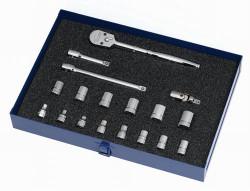 6 - 19MM Williams 3/8 Dr Socket & Tool Set 6 Pt 18 Pcs & Tool Box - MSB-18HFTB