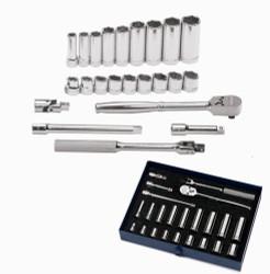 "3/8 - 7/8"" Williams 3/8"" Dr Shallow & Deep Socket & Tool Set 6 Pt 23 Pcs & Tool Box - WSB-23HFTB"
