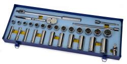 "3/8 - 1 1/4"" Shallow & 1/2 - 1 1/8"" Deep Williams 1/2"" Dr Socket & Tool Set 12 Pt 30 Pcs & Tool Box - WSS-30FTB"