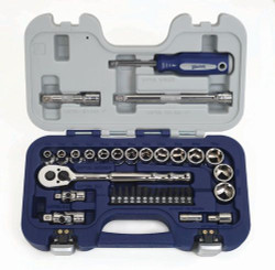 """MM Williams 3/8"""" Shallow Socket & Hex Bit Tool Set 6 Pt 34 Pcs & Tool Box - 50613"""