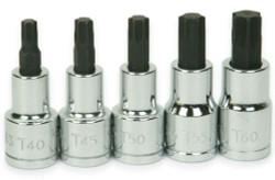 "T40 -T60 Williams 1/2"" Dr Torx Bit Socket Set 5 Pcs - 32908"