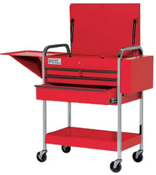 "41"" Williams Service Cart with Lid - 4 Drawer - Red 50724"