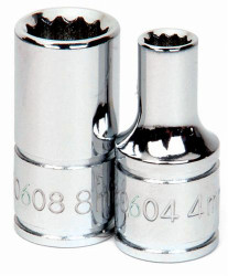 "5MM Williams 1/4"" Dr Chrome Shallow Socket 12 Pt - 30605A"