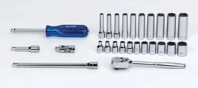 "5/32 - 9/16"" Williams 1/4"" Dr Shallow & Deep Socket & Tool Set 6 Pt 26 Pcs & Tool Box - WSM-26HFTB"