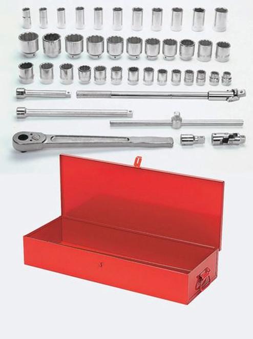 "3/4 - 2 3/8"" Williams 3/4"" Dr Shallow & Deep Socket & Tool Set 12 Pt 43 Pcs  & Tool Box - WSH-43TB"