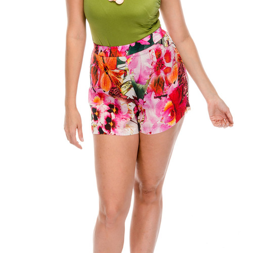 Evangeline Rose Silk Cheeky Shorts, front view, zoomed in on model