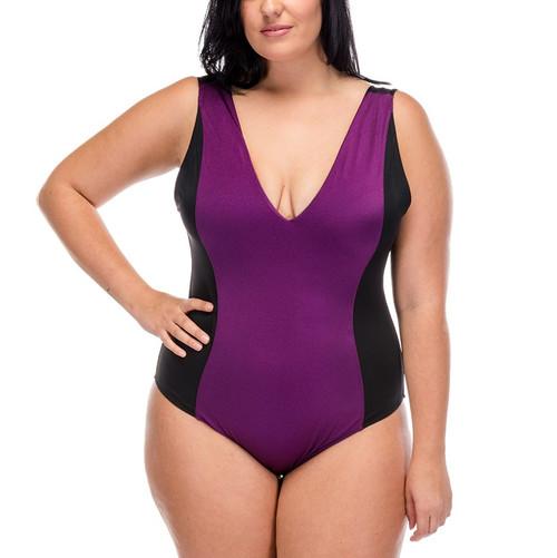 Deep Vee One Piece Swimsuit - Eggplant