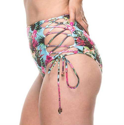 Lacey High Waisted Bikini Bottoms - Pineapple Print