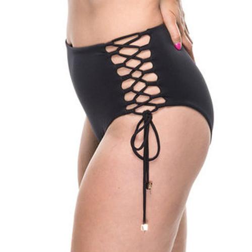 Lacey High Waisted Bikini Bottoms - Black