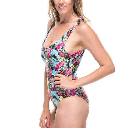 Tie Strap One Piece Swimsuit - Pineapple Print