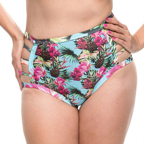 High Waist Cut Out Bikini Bottoms - Pineapple Print