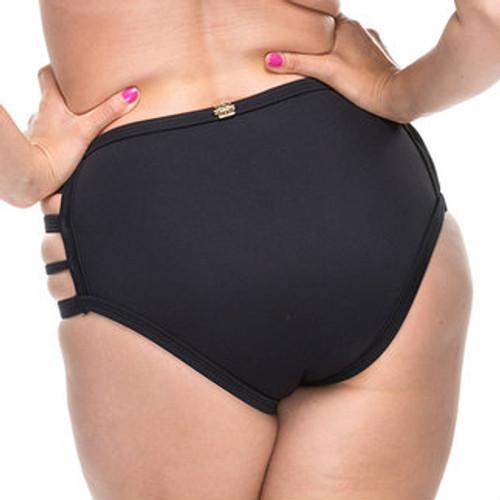 High Waist Cut Out Bikini Bottoms - Black