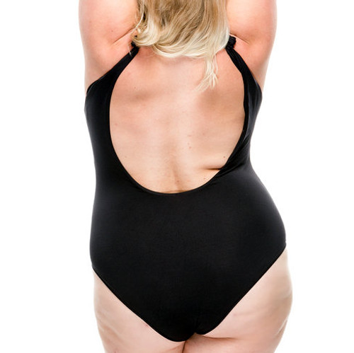 Tie Strap One Piece Swimsuit - Black