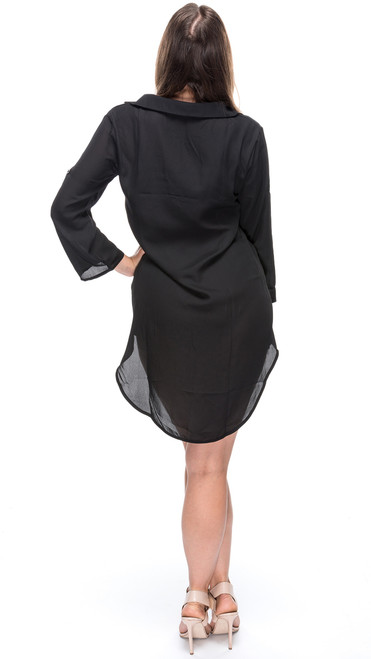 Lace Front Shirt Dress - Black