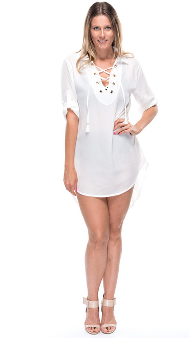 Lace Front Shirt Dress - White
