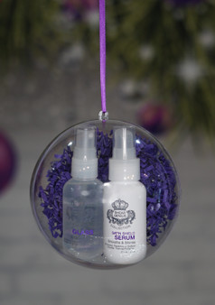 "Our two best sellers are always making seasons bright, why stop now?! Our mini travel glass and serum comes in this clear 5"" ornament perfect for your tree or even a great stocking stuffer!"