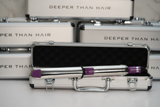 The 22 TiTania is our number one styling tool!  A 1.25 inch flat iron in the color Signature Royal, with heat settings ranging 300 to 465, this is your go-to hair tool. From curls to bone straight, 22TiTania will get the job done!   Made with aircraft grade titanium floating plates with highly efficient heat transfer that instantly smooths, conditions and shines with just one pass. Our beautiful custom, heavy duty, silver DTH,  carrying case is included with each purchase. Perfect for professional traveling stylists, self proclaimed stylists or those who simply want a safe storage for their flat iron.