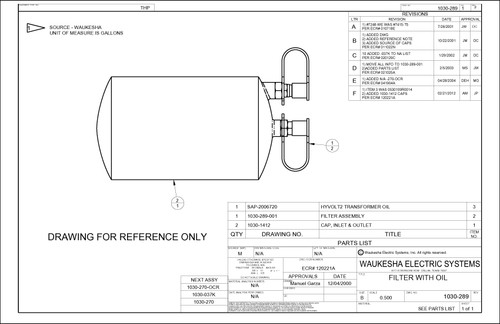Drawing of oil filter