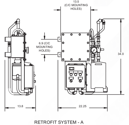 Dimensional drawing of standard filtration system