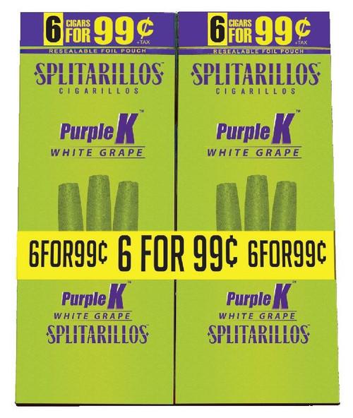 Splitarillos Purple K (White Grape) Cigarillos Pouch 15/6 Ct