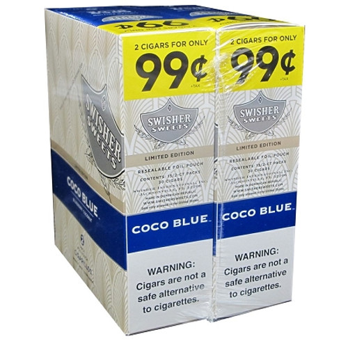Swisher Sweets Cigarillos Foil Coco Blue 30 Pouches of 2