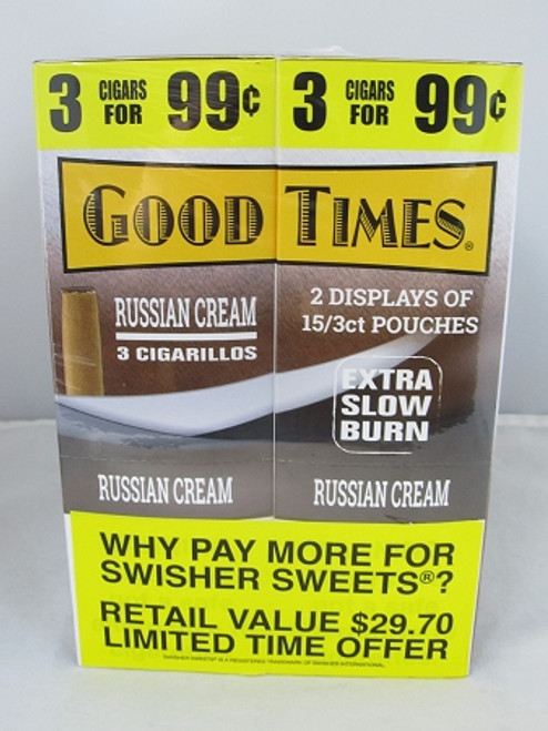 Good Times Russian Cream Cigarillos 30 Packs of 3