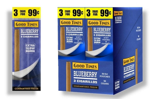 Good Times Cigarillos Blueberry 30 Packs of 3