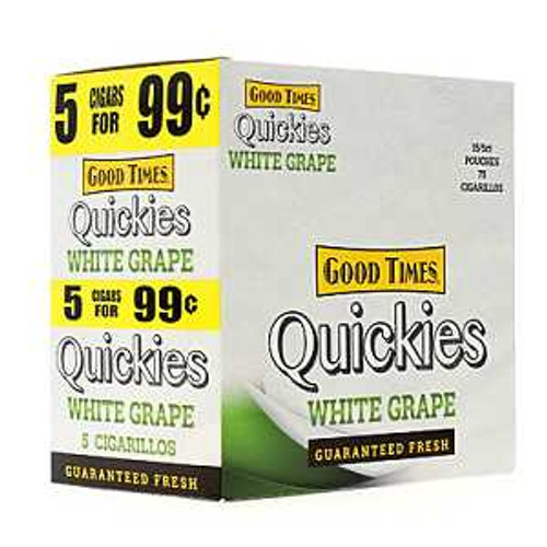Good Times Quickies Cigarillos White Grape 15 Pouches of 5