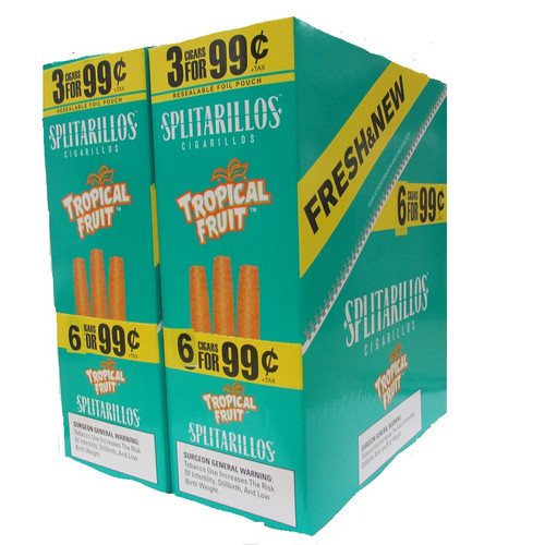 Splitarillos Cigarillos Tropical Fruit 30 Pouches of 3