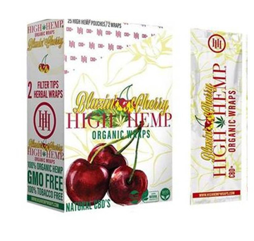 High Hemp Organic Wraps Blazing Cherry 25Ct/2