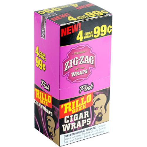 Zig Zag Rillo Wraps Pink 15 Pouches of 4