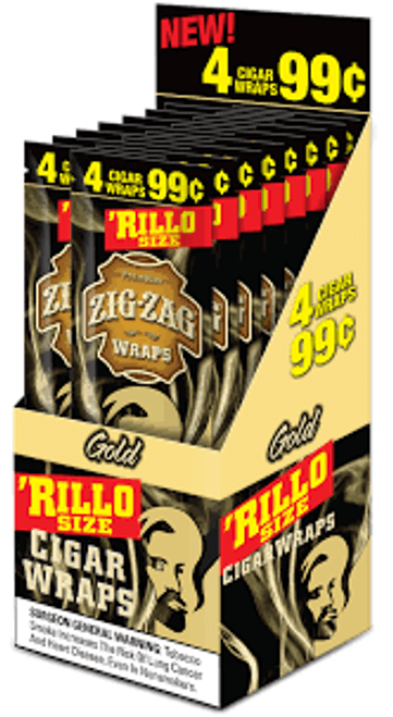 Zig Zag Rillo Wraps Gold 15 Pouches of 4