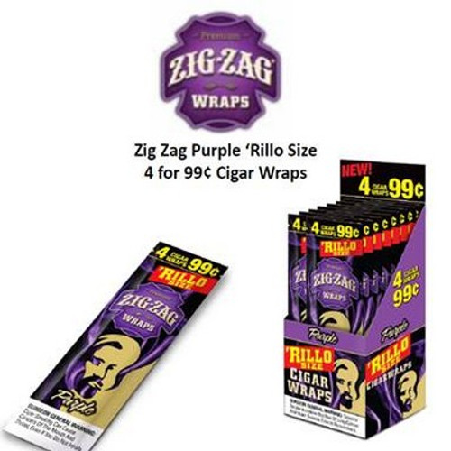 Zig Zag Rillo Wraps Grape 15 Pouches of 4