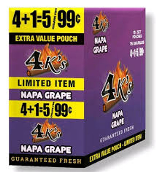 4 Kings Cigars Napa Grape 15 Pouches of 5