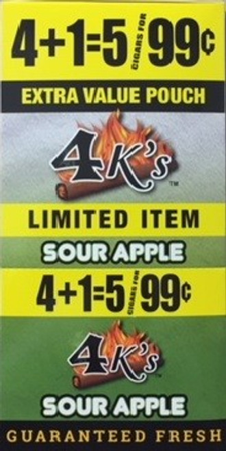 4 Kings Cigars Sour Apple 15 Pouches of 5