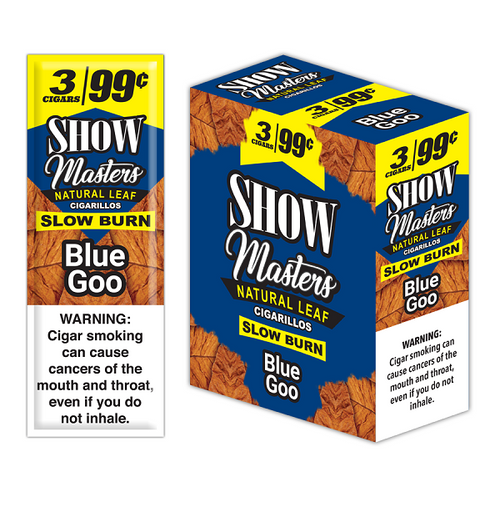 Show Masters Natural Leaf Cigars Blue Goo 15 Packs of 3
