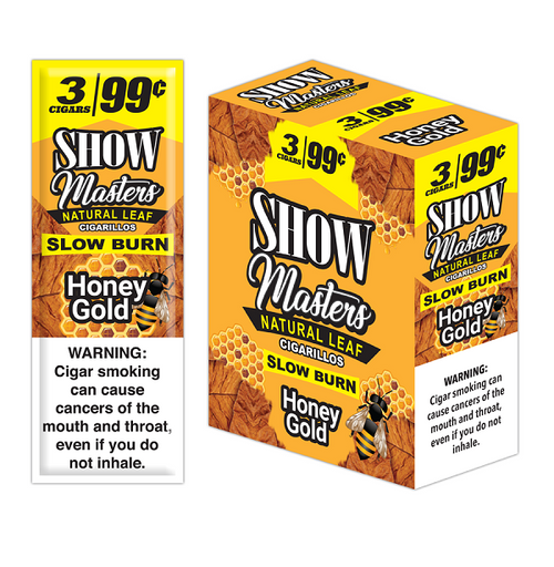 Show Masters Natural Leaf Cigars Honey Gold 15 Packs of 3