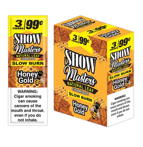 Show Masters Natural Leaf Cigars Honey Gold 15 Packs of 3