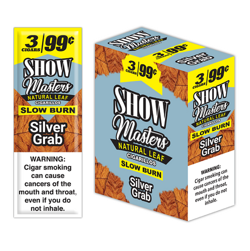 Show Masters Natural Leaf Cigars Silver Grab 15 Packs of 3