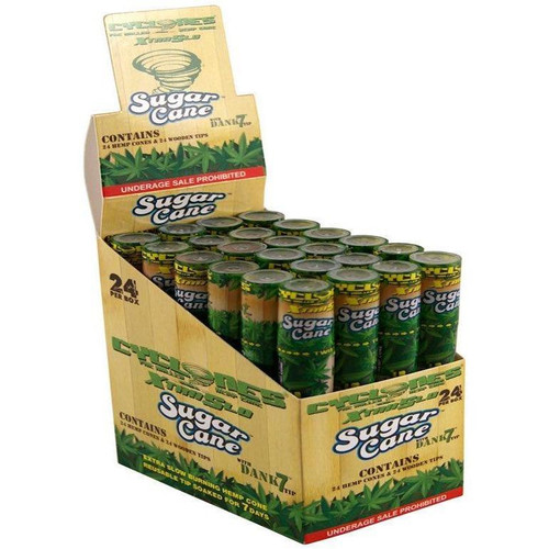 Cyclone Pre-Rolled Hemp Cones Sugar Cane 24 Packs of 2