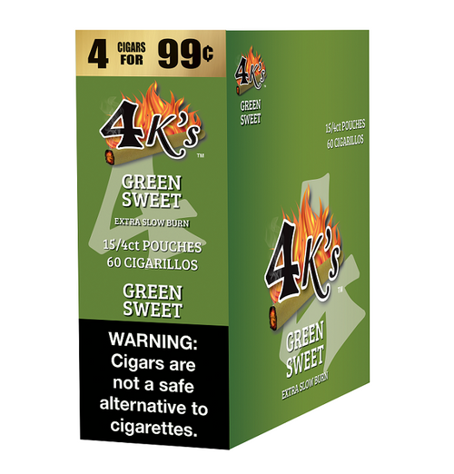 4 Kings Cigars Green Sweet 15 Pouches of 4
