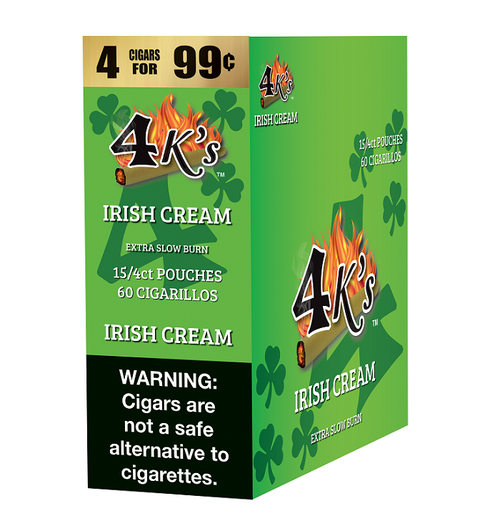4 Kings Cigars Irish Cream 15 Pouches of 4