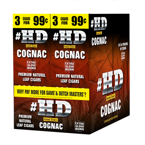 Good Times #HD Cigarillos Cognac 30 Packs of 3