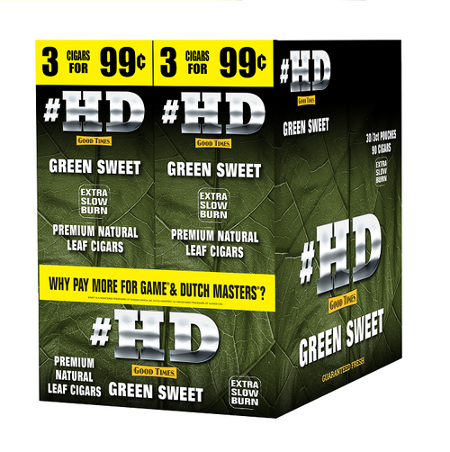 Good Times #HD Cigarillos Green Sweet 30 Packs of 3