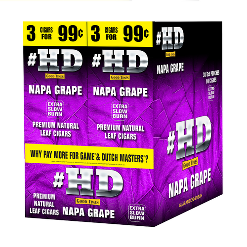 Good Times #HD Cigarillos Napa Grape 30 Packs of 3