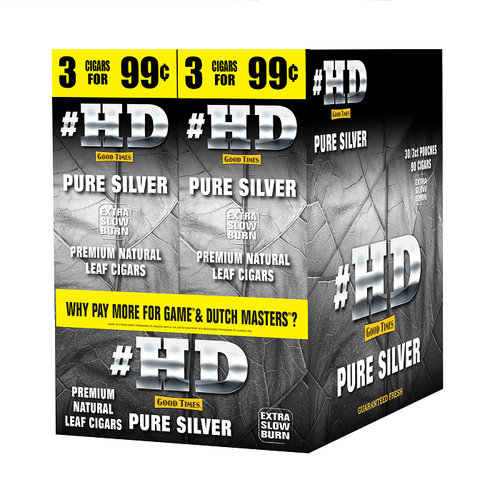 Good Times #HD Cigarillos Pure Silver 30 Packs of 3